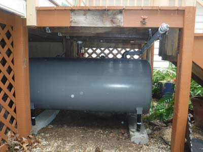heating oil tank under a porch